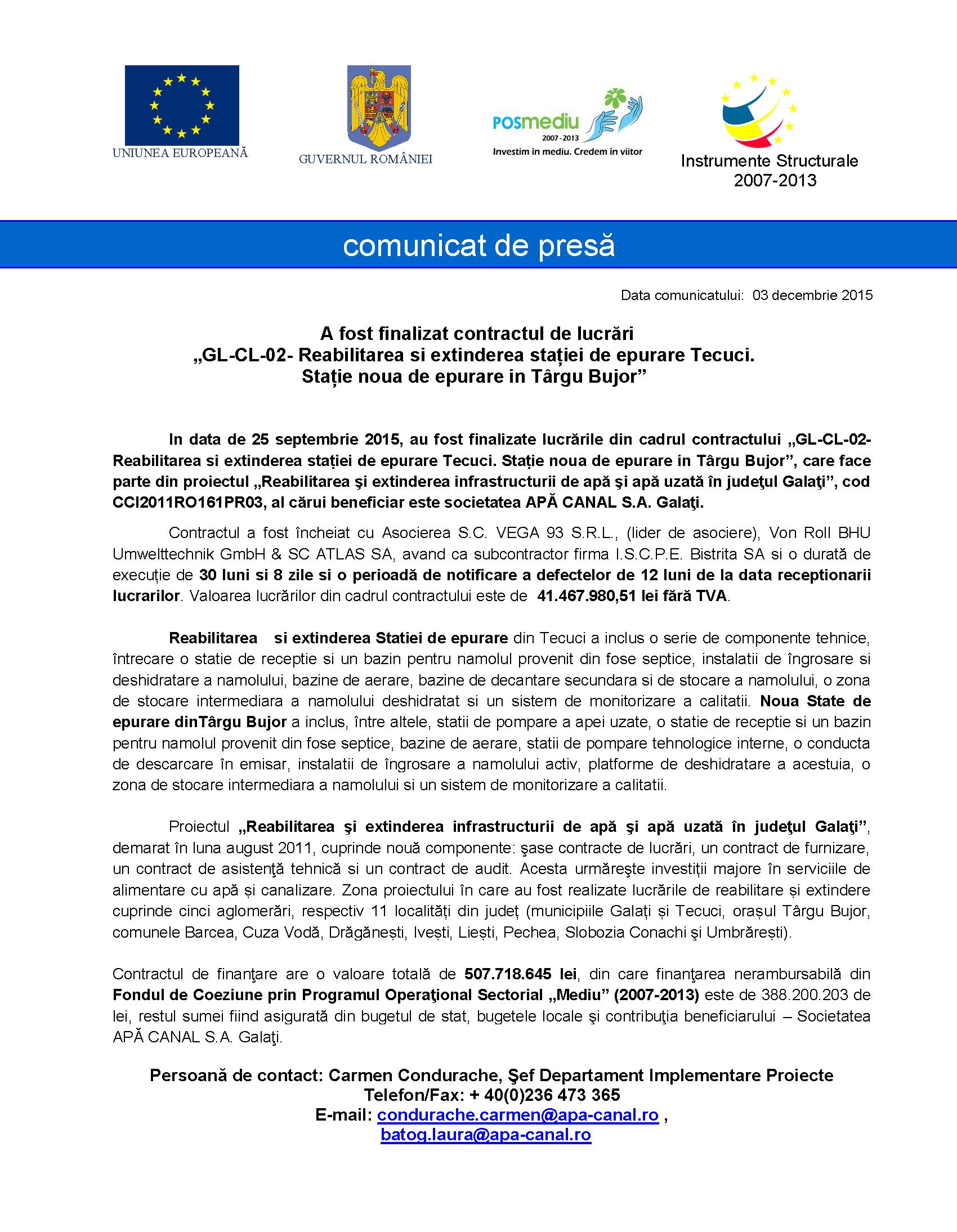 Comunicat de presa finaliz contract GL CL 02 SEAU Tecuci si Targu Bujor aviz AM POS