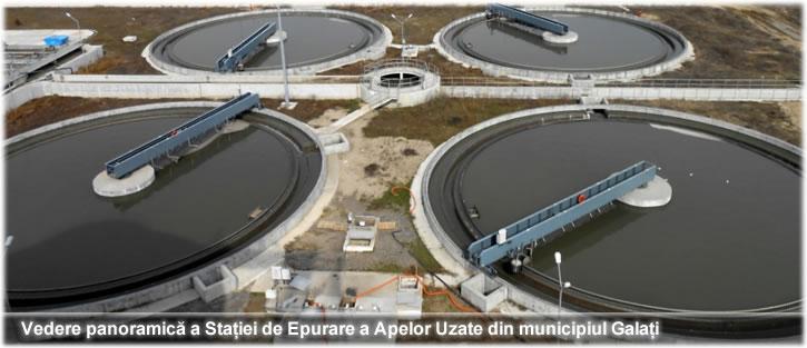 Vedere panoramică a Stației de Epurare a Apelor Uzate din municipiul Galați